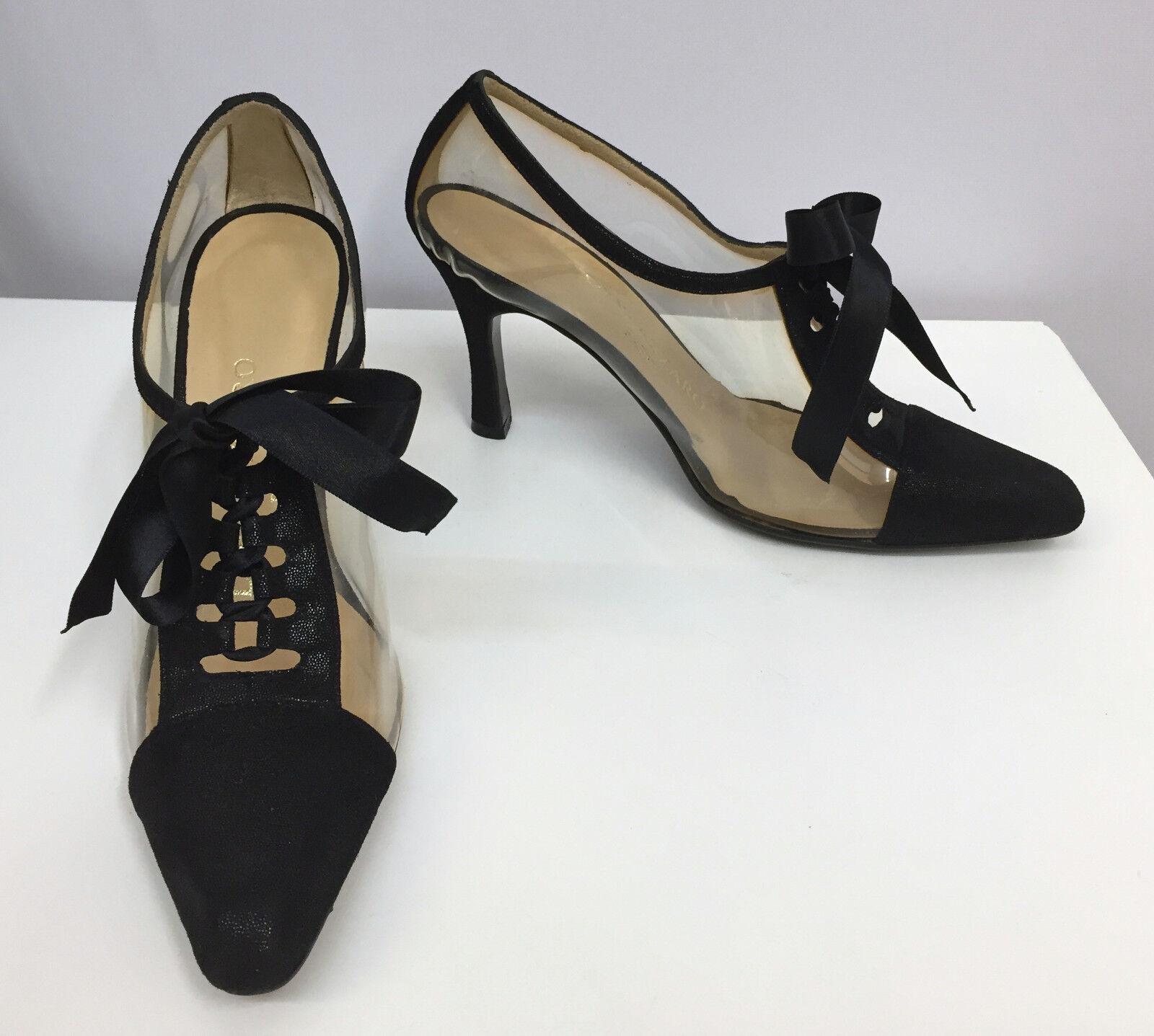 LORIS AZZARO scarpe NEW nero METALLIC LEATHER LACE UPs CLEAR PLASTIC 3 1 2 5 1 2