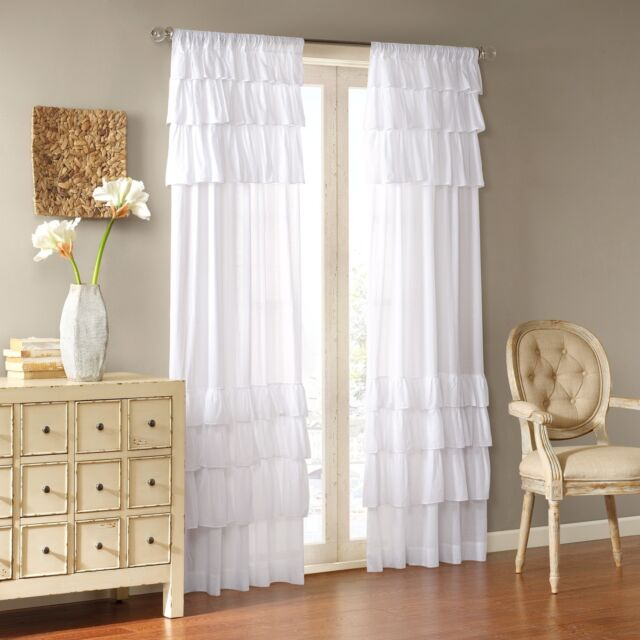 White Curtain Ruffle Panel S Bedroom Nursery Drape Window Covering Treatment