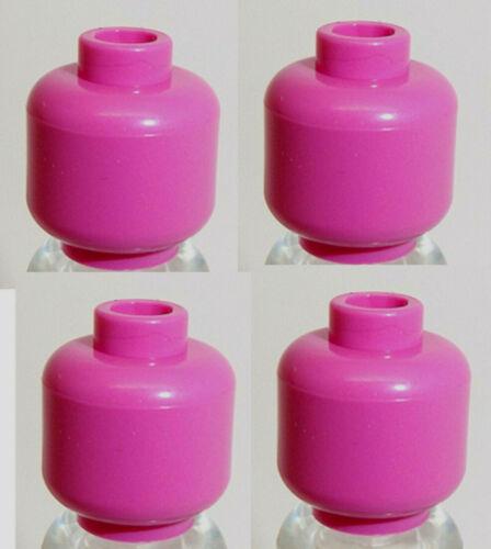 Lego Minifig Heads x 4 Dark Pink Plain Head