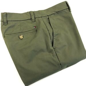 TOMMY-HILFIGER-Chinos-Men-039-s-THFLEX-Stretch-Slim-Fit-Olive-Green