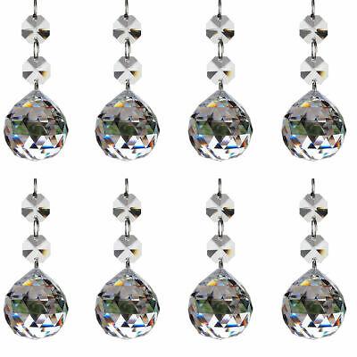 H/&D 10PCS Brown Crystal Glass Beads Pendants Chandelier Lamp Prisms Parts 38MM