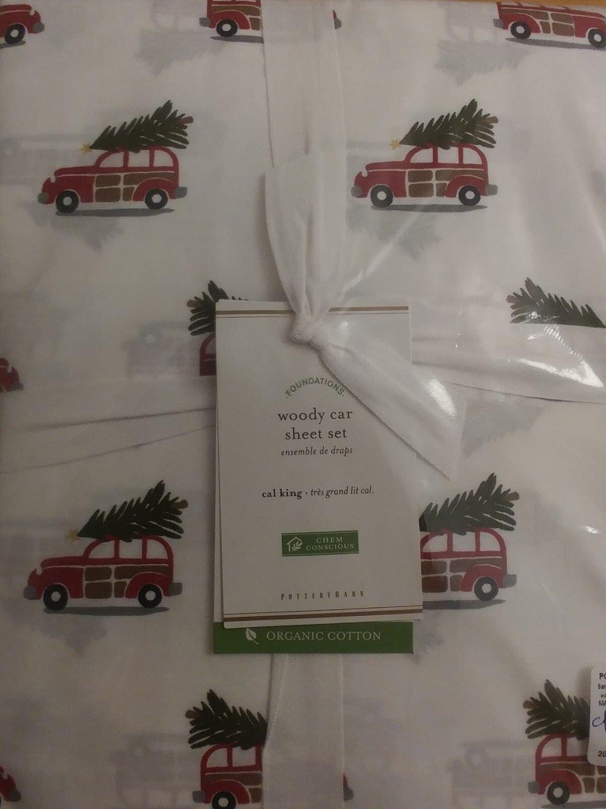 4pc Pottery Barn WOODY CAR Organic Percale Cal King Sheet Set Vintage Christmas