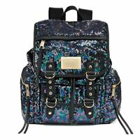 New Juicy Couture Sequined Shimmer Sequins Backpack Bag Multi Black NWT