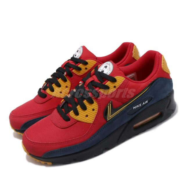 Nike Air Max 90 Premium London City Red Gold Blue Men Lifestyle Shoes CJ1794 600