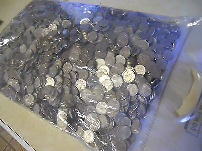 Circulated Coins Bank Rolled lot of 25 Unsearched Jefferson Nickel Rolls $50