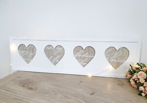 Shabby-Chic-Cottage-Style-White-Hanging-Four-Heart-Photo-Frame