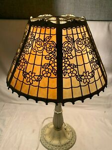 Vintage-Antique-MILLER-236-Lamp-Co-1920s-6-Slag-Glass-Panel-table-Lamp-ART-DECO
