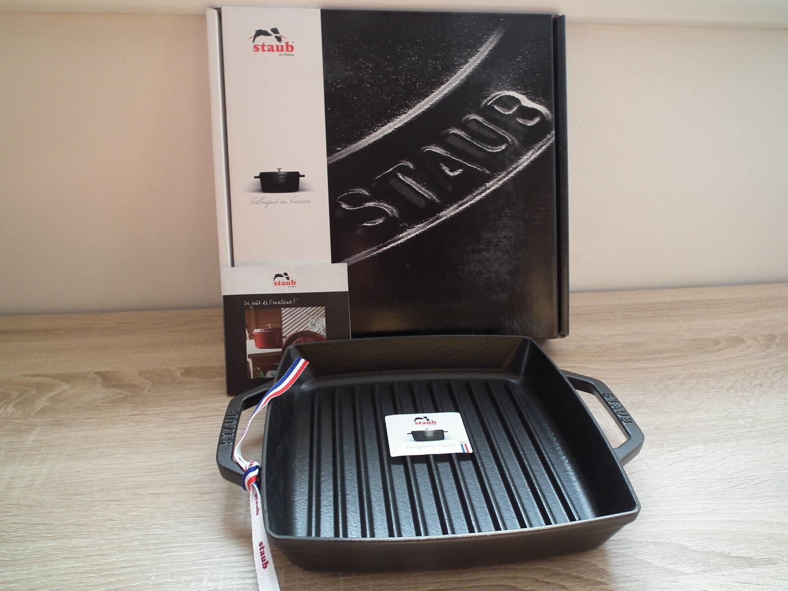 STAUB Grillpfanne quadratisch 33 x 33 cm Gusseisen Pfanne Steakpfanne negro