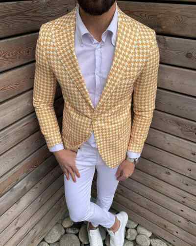 Mens Tweed Houndstooth Blazer Leisure Sports Suits Formal Slim Fit Tailored Fit