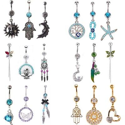 20G//14G Unique Dangle Belly Button Ring Lot Body Piercing Navel Barbell Jewelry