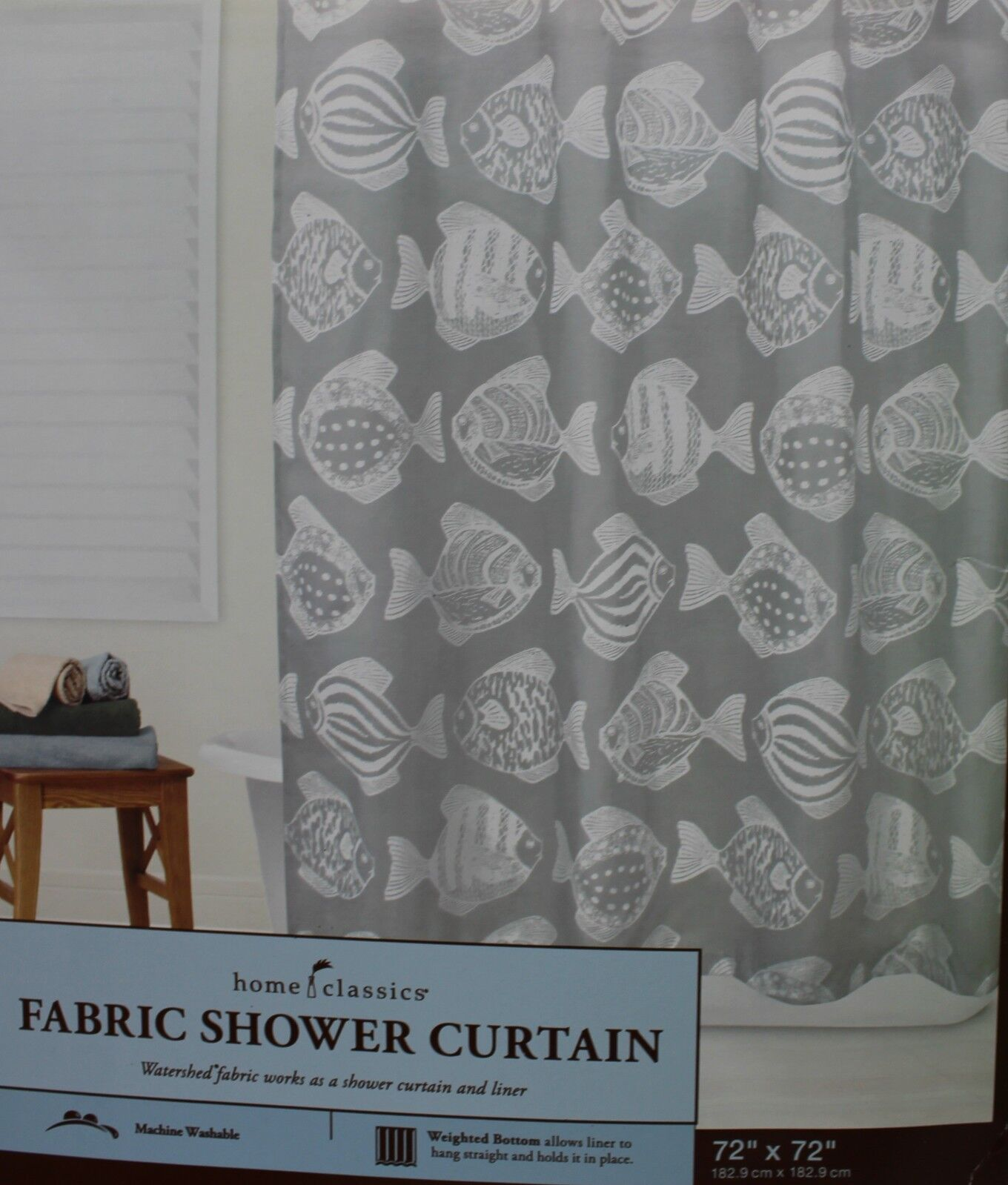 Shower Curtains Home Classics Fabric White Gray Fish
