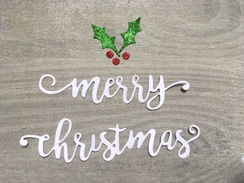 Stanzschablone// Cutting dies merry christmas mit Ilex 2-2,5cm hoch für Big Shot