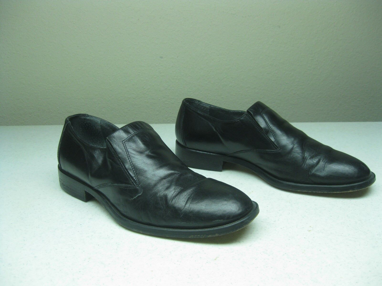 MENS Black MASSIMO ITALIAN DRESS CASUAL SLIP ON SHOES-SIZE 7 M