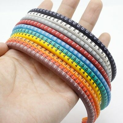 0 to 9 Size 1.5mm Colored 500pcs Wire Cable Marker Cabel Number Tag Label EC 0
