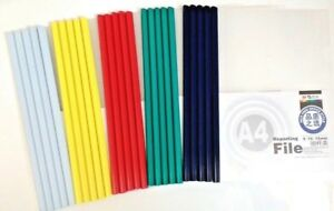QTY 5 FIVE A4 SLIDE BINDERS 5MM CAPACITY BLUE -LENGTH 297 MM-SQUARE