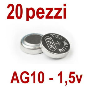 20-PILE-AG10-LR1130-LR1131-LR54-1-5V-BATTERIA-BOTTONE-PILA-OROLOGIO-non-10