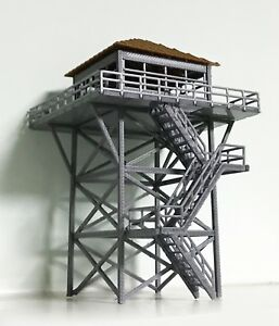 Outland-Models-Railway-Scenery-Watchtower-Lookout-Tower-Grey-HO-Scale-1-87