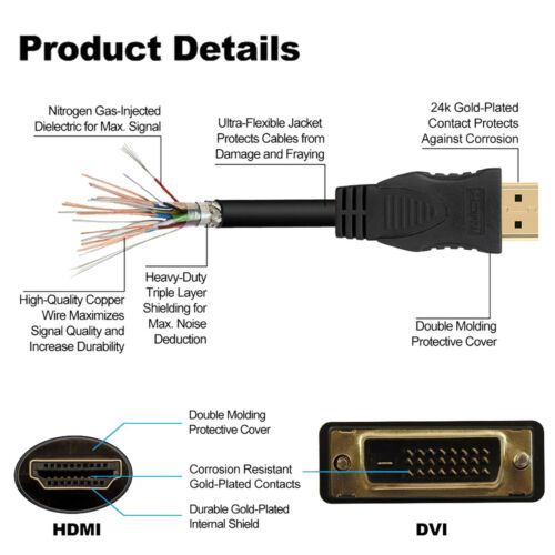 6FT 10FT 15FT DVI-D 24+1pin Male to HDMI Digital Video Cable Lead GOLD 1//2//3//4pc