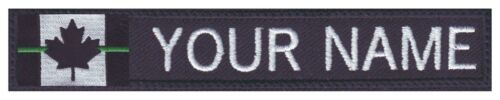 Text Tag Patch Thin Green Line Canada Flag Personalized Embroidered Name