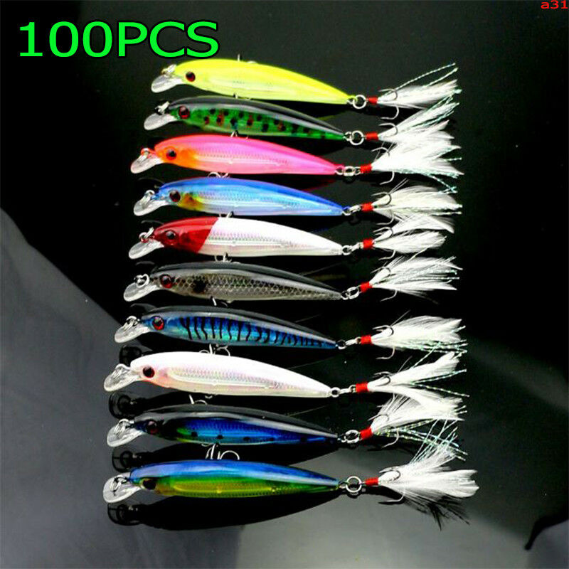 100PCS Fishing Lures Isca Artificial Hard Bait Feather Hook Wobbler Laser Minnow