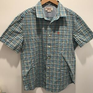 Penguin-Classic-Fit-Herren-Groesse-L-kariert-Button-Front-Shirt-Brustumfang-22-Laenge-28