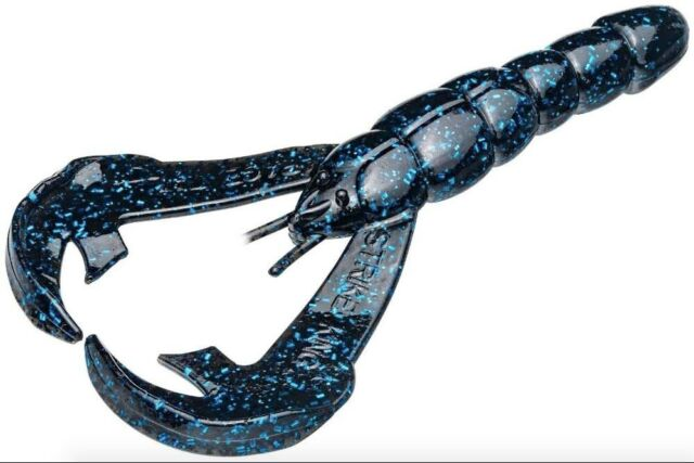 Strike King Rage Craw (RGCRW-2) 7pk Black Blue Flake 4 Inch Soft Plastic Lures