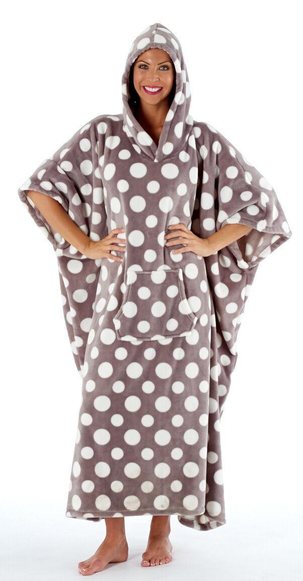 Ladies Grey Polka Dot Plush Fleece Long Hooded Poncho Robe - One Size Fits All