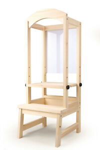 Details About Kids Wooden Kitchen Helper Tower Step Up Stool Learning Chair Adjustable Height