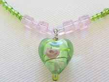 Beaded Green & Pale Pink Heart Pendant Necklace, Glass, Resin, Silver Wire/Clasp