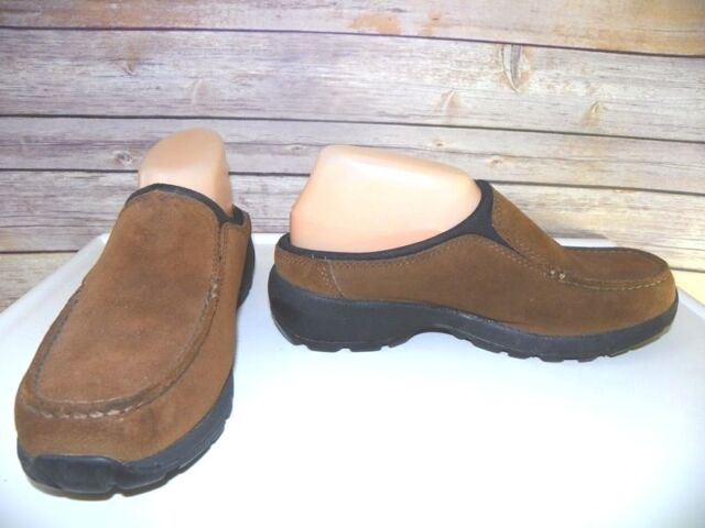 Brown Suede Leather Loafers Women's 7.5 B Clogs Slip on Shoes Lands End