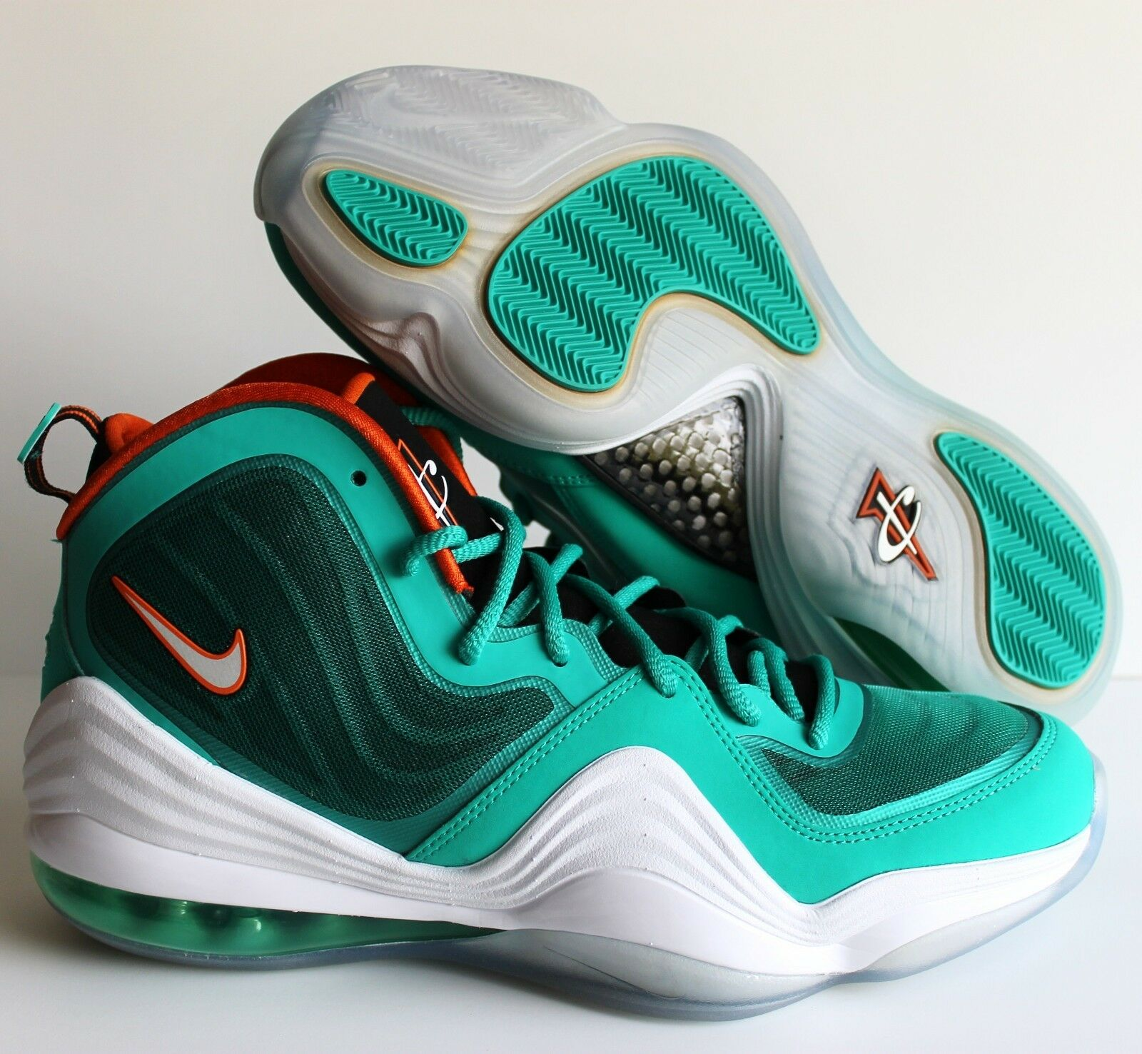 NIKE AIR AIR AIR PENNY V NEW GREEN-WHITE-ORANGE MIAMI DOLPHINS SZ 9 [537331-300] cd17ba