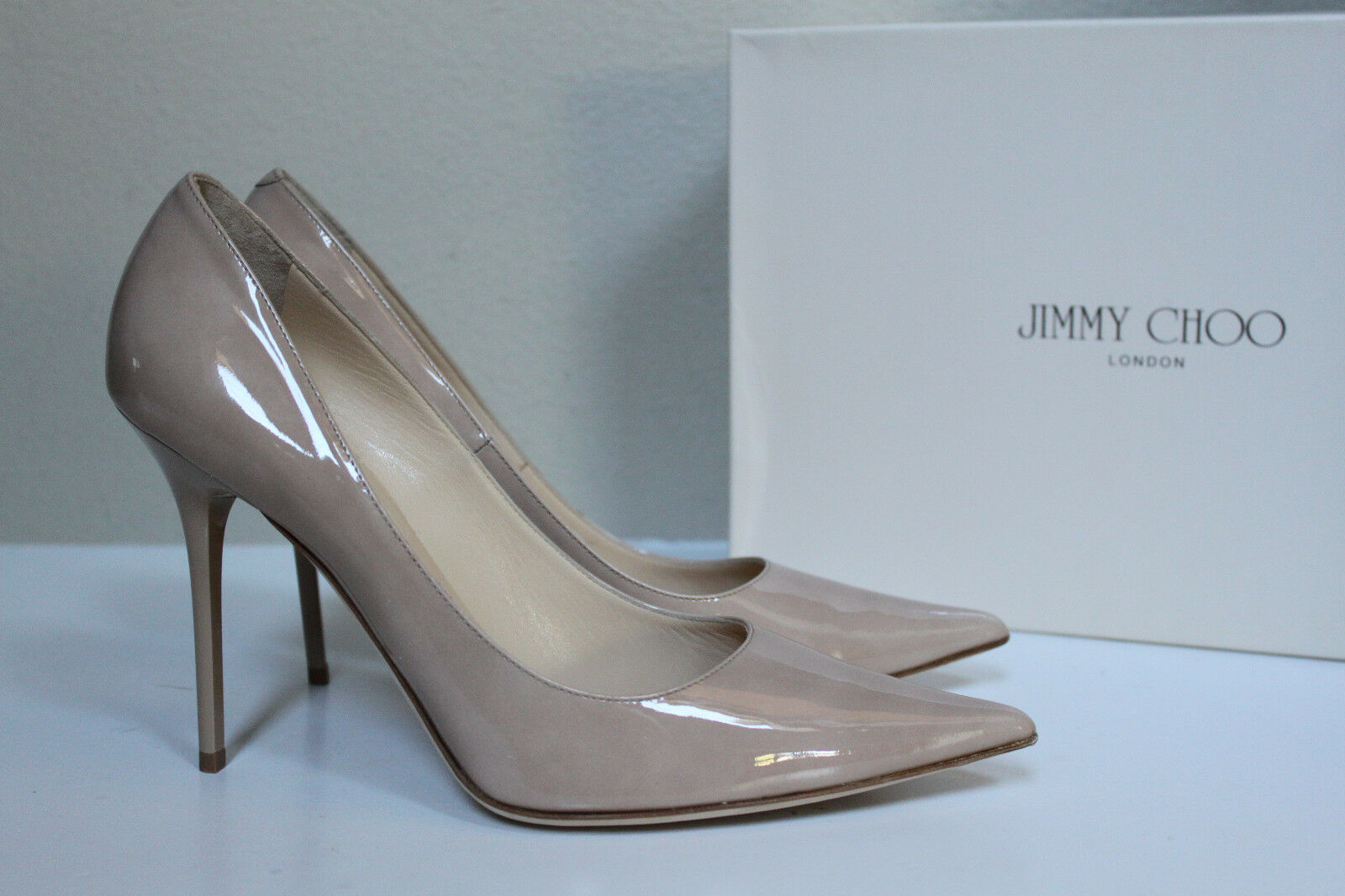 10.5   40.5 Jimmy Choo Abel Nude Patent Leather Classic Pointed Toe Pump shoes