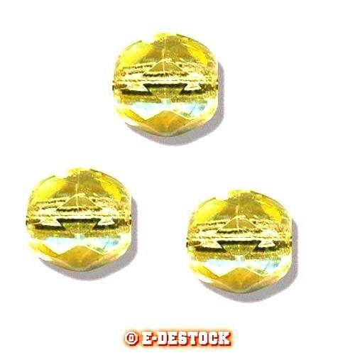 5 Perles Facettes cristal de boheme 10mm JONQUILLE AB Dark