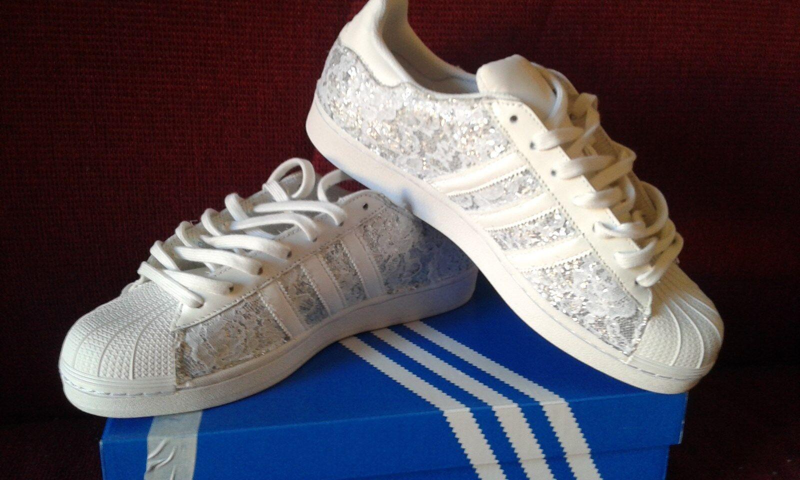 Scarpe adidas  e superstar con glitter argento e  pizzo bianco 9c3785