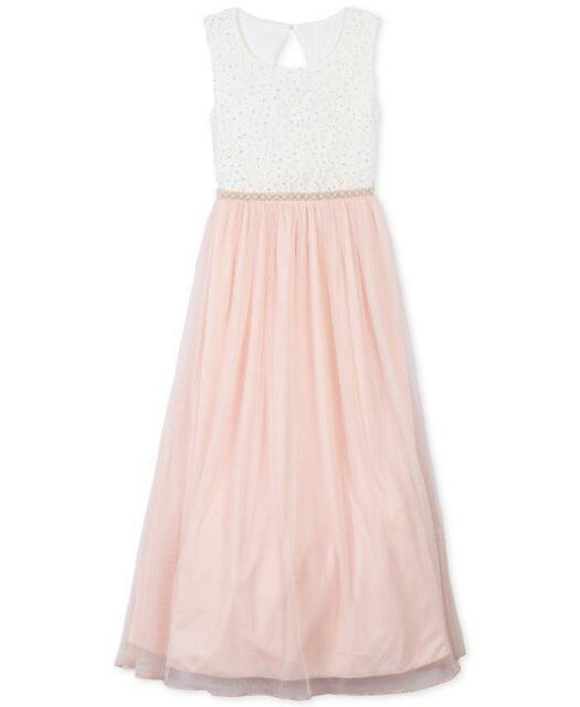 a074e3bc7d9fe Speechless Little Girls 5 Pink & Ivory Glitter Lace Maxi Dress for ...