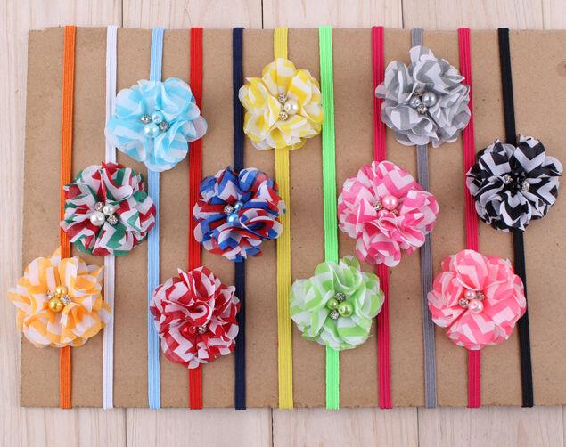 11pcs Chiffon Striped Pearl Kids Baby Girls Hair Band Bow Headbands Accessories