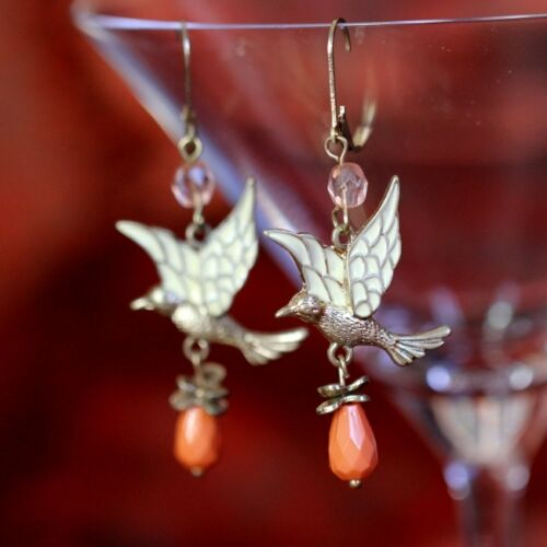 Rings` Ears Sleepers Bird Drop Orange Original Marriage Gift Ee 3
