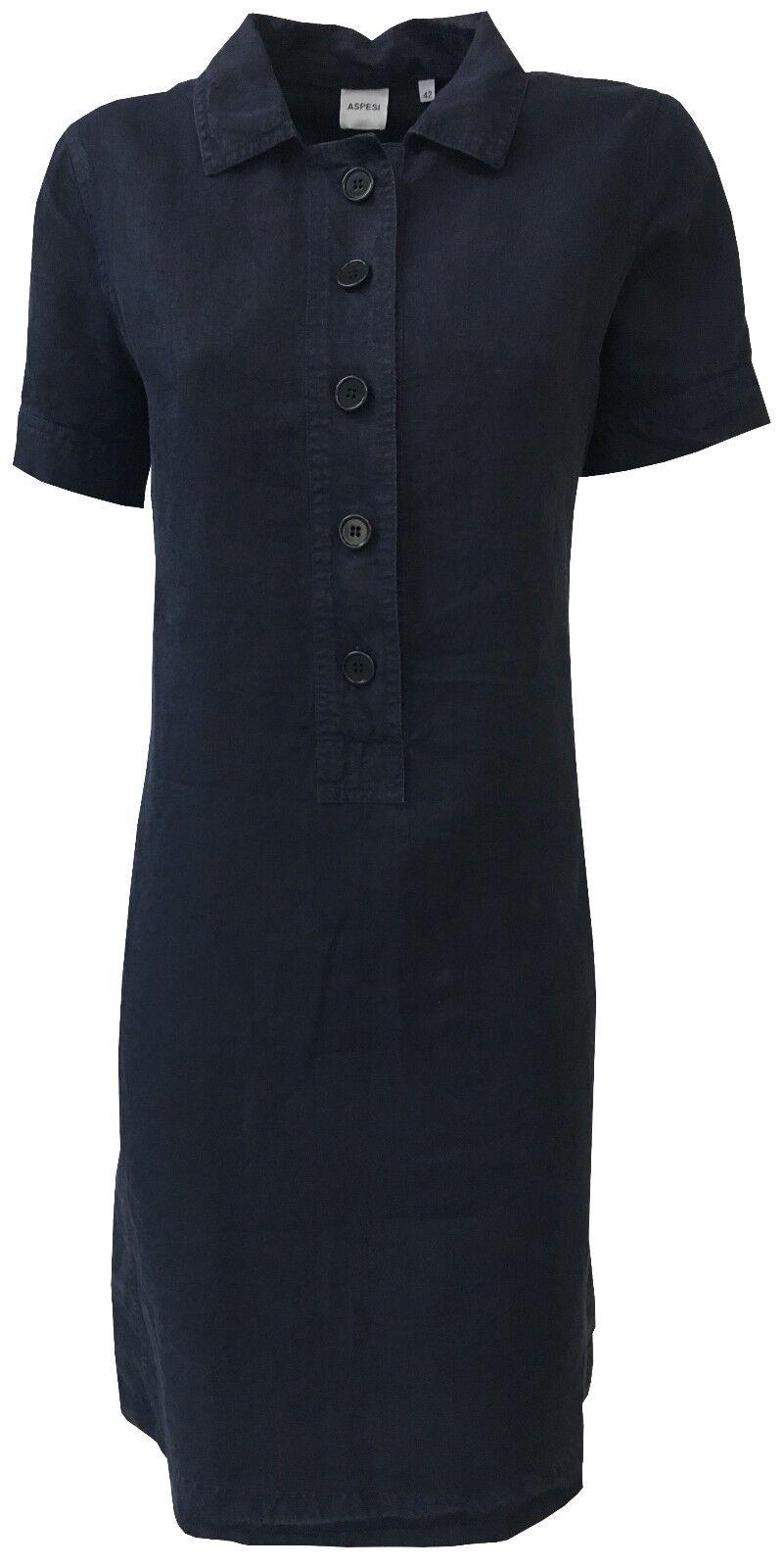 ASPESI  vestido mujer azul media manga modelo H605 C253 100% lino  toma