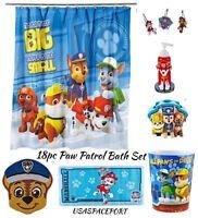 18pc Complete Paw Patrol Bathroom Set Shower Curtain+hooks+rug+tub Mat+pump Lot