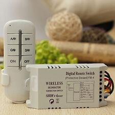 Inalámbrico 4 Canales  Lámpara Interruptor Control Remoto Receptor Transmisor
