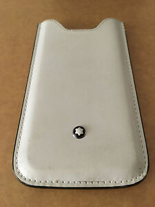 MONTBLANC-iPhone-SE-5S-Handhulle-Case-Leder-weis-Top-Zustand-Rare