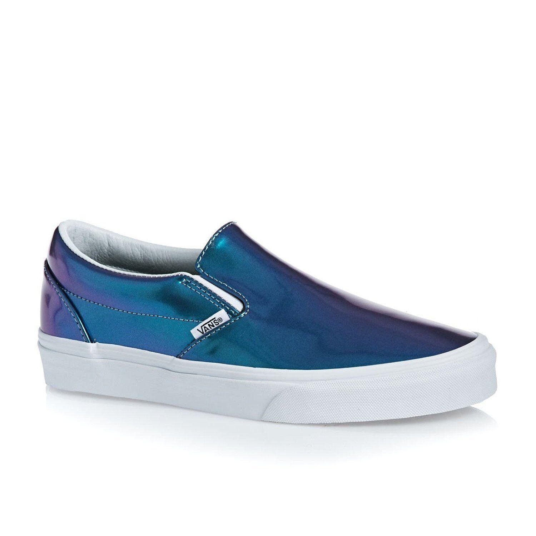 NEW Vans Patent Leder SLIP ON Shiny BLUE Iridescent Damenschuhe 6 MENS 4.5 Schuhes