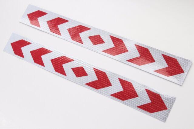 2 Pfeil Warntafel rot weiss Streifen Sticker Reflektor Aufkleber 40x5cm AN02R