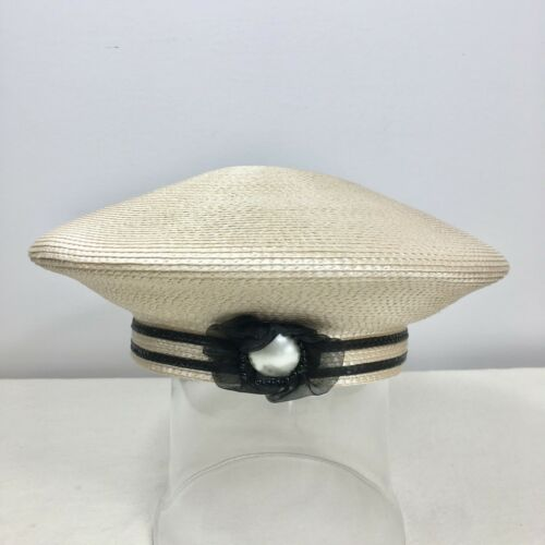 Vintage Faux Straw Beret Coolie Halo Hat Cream And