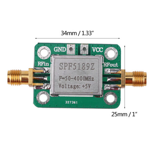 LNA 50-4000 MHz RF Low Noise Amplifier Signal Receiver SPF5189 NF = 0.6dB inm