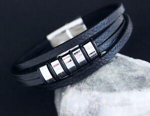 Leder-Armband-Edelstahl-Herren-Siber-Schwarz-Biker-Wikinger-Armkette