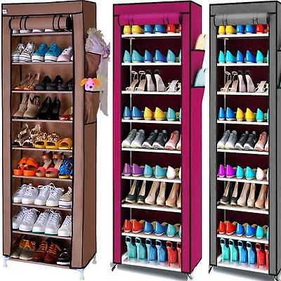 New 10 Tier Shoe Rack Cabinet Storage Organiser Stand Shelf 27 Pairs Dustproof