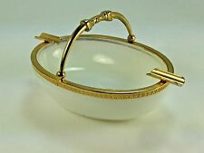 Antique Heavy French White Opaline Glass Basket Ashtray