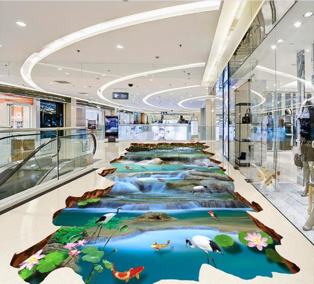 3D Pond fish lotus 2533 Floor WallPaper Murals Wall Print Decal 5D AJ WALLPAPER