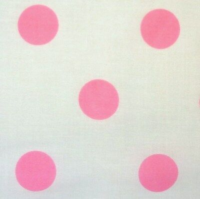 White Polycotton Fabric with 25 mm Bright Candy Pink Spot Per Metre